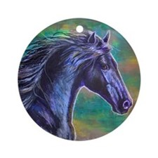 Black Stallion Ornament (Round)