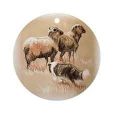 Border Collie with Sheep Ornament (Round)