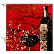 Romantic Red Wine Shower Curtain