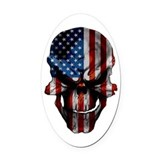 Flag & Skull on White Oval Car Magnet