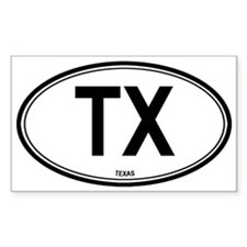 Texas (TX) euro Oval Decal