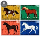 1969 Germany Horses Set Postage Stamps Puzzle
