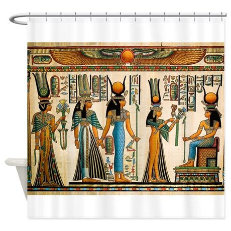 Ancient egyptian wall tapestry shower curtain by houseofprints for Bathroom accessories egypt