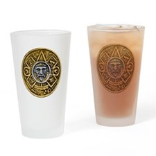 Gold Silver Sun Dial Drinking Glass