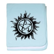 Anti-Possession Symbol Black (Glow) baby blanket