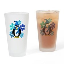 Penguin Snowflakes Winter Design Drinking Glass