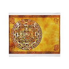 Aztec Mayan Inca Style Sun Dial Throw Blanket