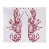 Vintage Lobsters in Red Throw Blanket