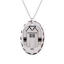 Hockey Jersey Necklace Oval Charm