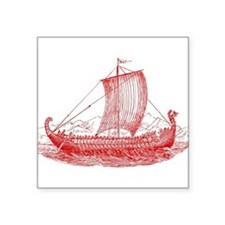 Cool Vintage Viking Ship Design Square Sticker 3""