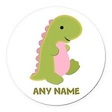 Customizable Dinosaur Print Round Car Magnet
