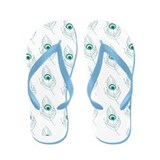 Blue Peacock Feathers Flip Flops