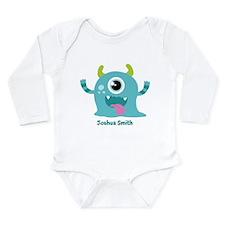 Blue Monster Long Sleeve Infant Bodysuit