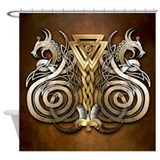 Norse Valknut Dragons Shower Curtain