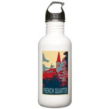 French Quarter in Red and Blue Sports Water Bottle