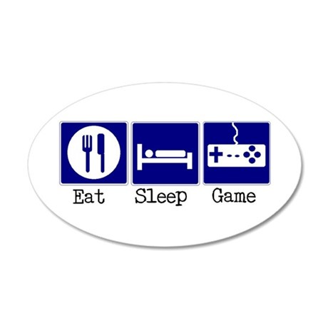 Eat, Sleep, Game 35x21 Oval Wall Decal