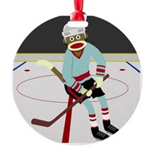 Sock Monkey Ice Hockey Player Ornament