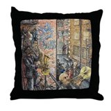 Back Alley Blues Throw Pillow