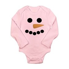 Snowman Face Long Sleeve Infant Bodysuit