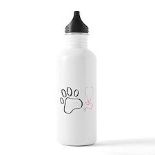 Vet Tech Paw Print + Stethoscope Water Bottle