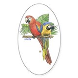 Tropical Macaws Oval Bumper Stickers