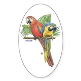 Tropical Macaws Oval Decal