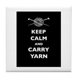 Keep Calm Carry Yarn Tile Coaster