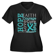 Ovarian Cancer Hope Courage Women's Plus Size V-Ne