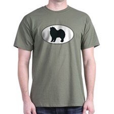 Samoyed Silhouette Black T-Shirt