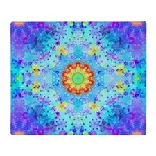 Turquoise Fractal Art Mandala Throw Blanket