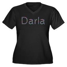 Darla Paper Clips Women's Plus Size V-Neck Dark T-