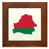 Belarus map flag Framed Tile
