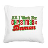 Vampire Damon Christmas Square Canvas Pillow
