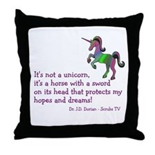 Scrubs Unicorn Quotes Throw Pillow