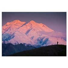 Scenic view of Mt. Mckinley at dawn with the silho