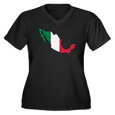 Mexico map flag Women's Plus Size V-Neck Dark T-Sh