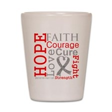 Brain Cancer Hope Courage Shot Glass
