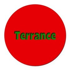 Terrance Red and Green Round Car Magnet