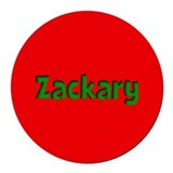 Zackary Red and Green Round Car Magnet