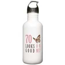 70th Birthday Butterfly Water Bottle