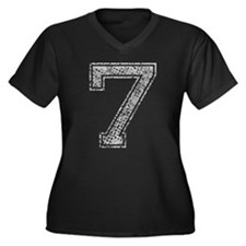 7, Grey, Vintage Women's Plus Size V-Neck Dark T-S