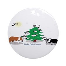 Cute Border collie christmas Ornament (Round)