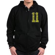 11, Yellow, Vintage Zip Hoodie