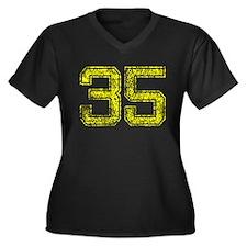 35, Yellow, Vintage Women's Plus Size V-Neck Dark