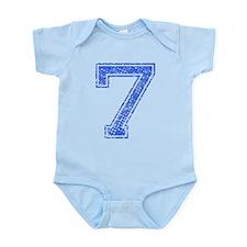 7, Blue, Vintage Infant Bodysuit