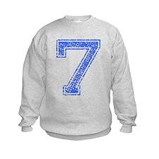7, Blue, Vintage Sweatshirt