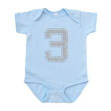 3, Grey, Vintage Infant Bodysuit