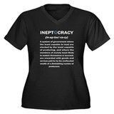 Ineptocracy Women's Plus Size V-Neck Dark T-Shirt