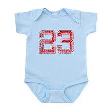 23, Red, Vintage Infant Bodysuit