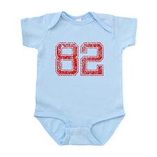 82, Red, Vintage Infant Bodysuit